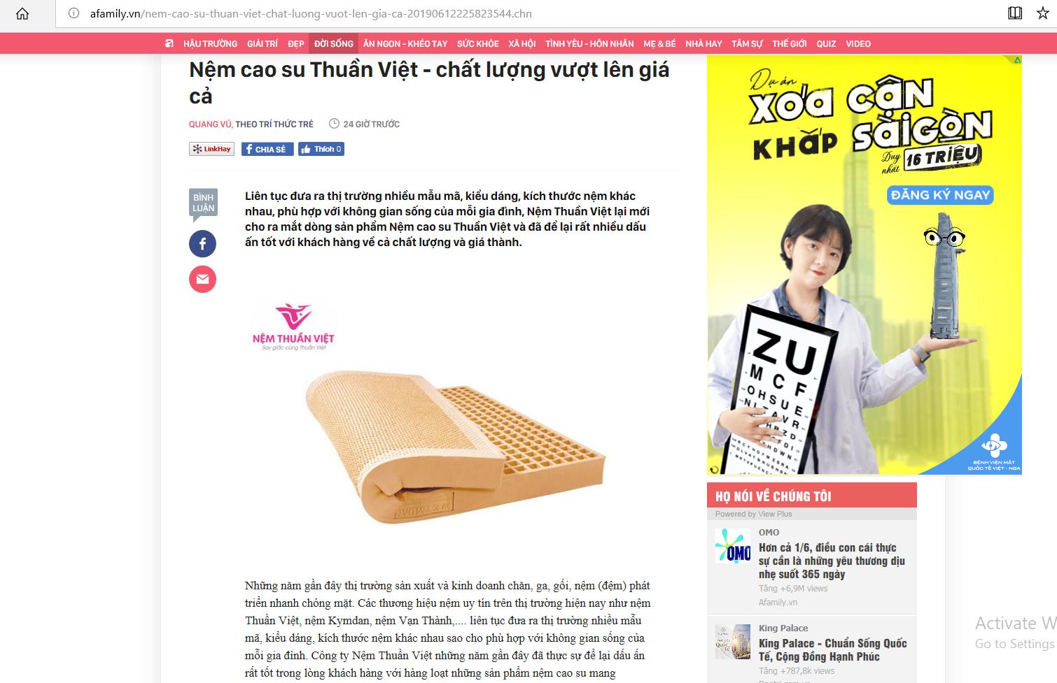 Nệm cao su Thuần Việt - chất lượng vượt lên giá cả trên báo Afamily