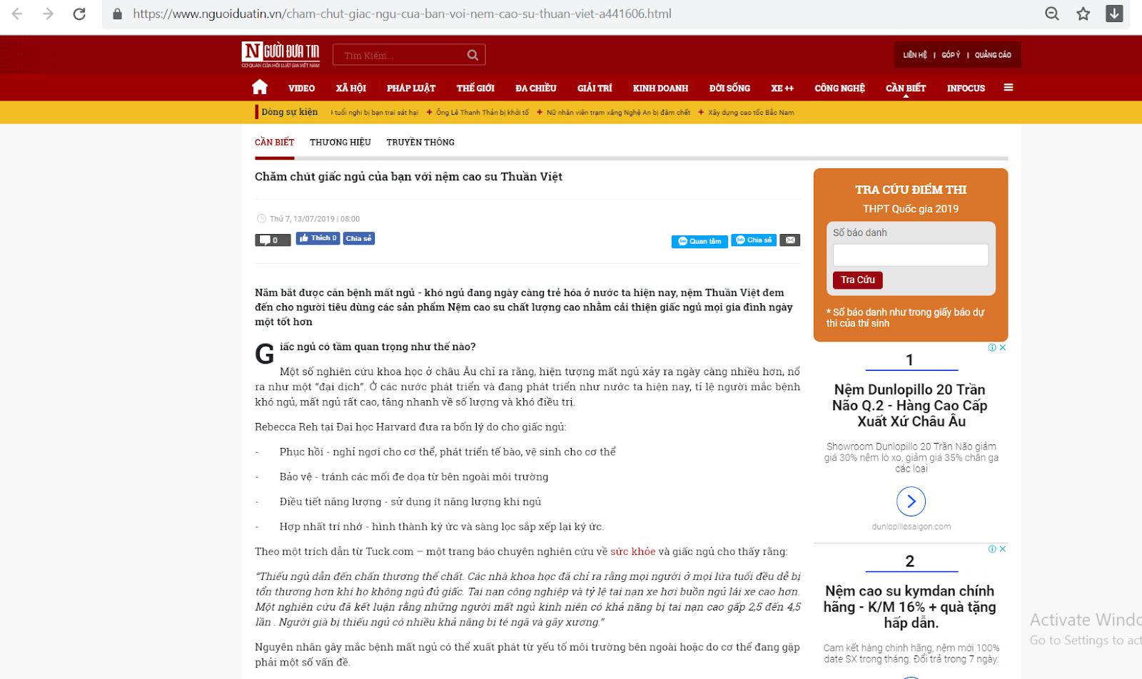 Nệm Thuần Việt trên báo người đưa tin