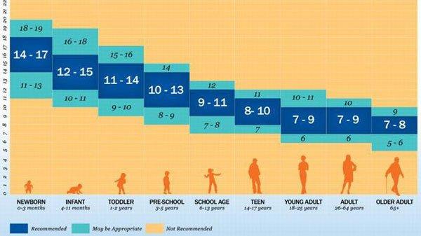 Biểu đồ lượng thời gian ngủ từ sơ sinh đến cao tuổi