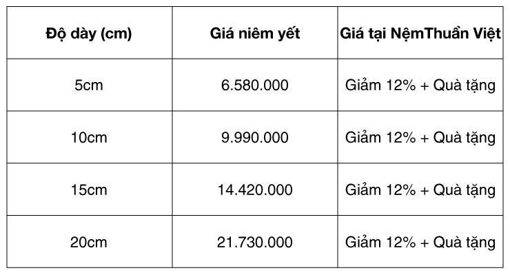 nệm cao su non giá rẻ kích thước 1m6, 1m2, 1m8