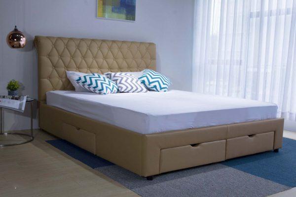 mẫu giường ngủ đẹp Thông Minh Bọc Da PU 4 Hộc Kéo B1457D