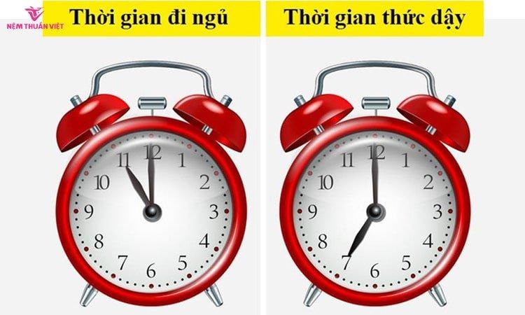 thời gian đi ngủ và thức dậy