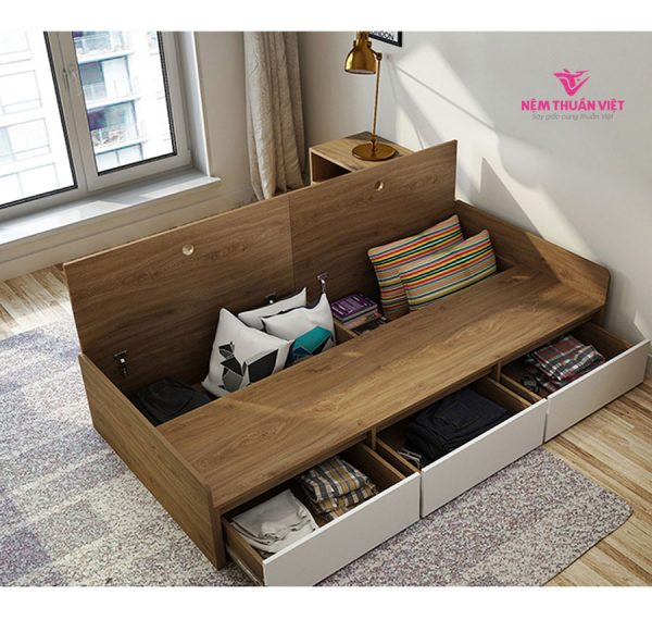mẫu giường đơn giá rẻ gỗ công nghiệp 1 người nằm
