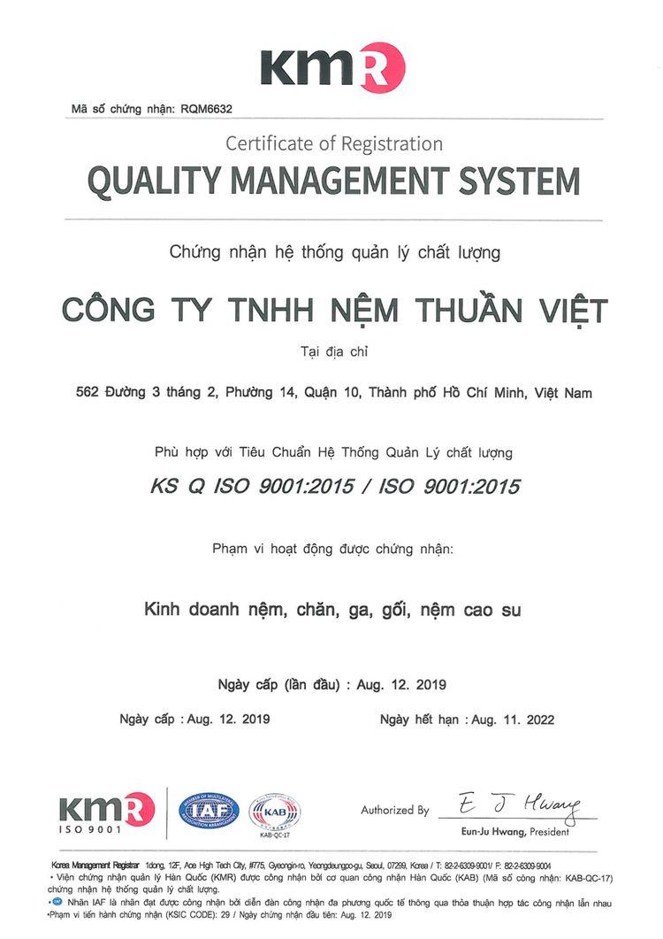 Nệm Thuần Việt đạt chứng nhận ISO 9001:2015