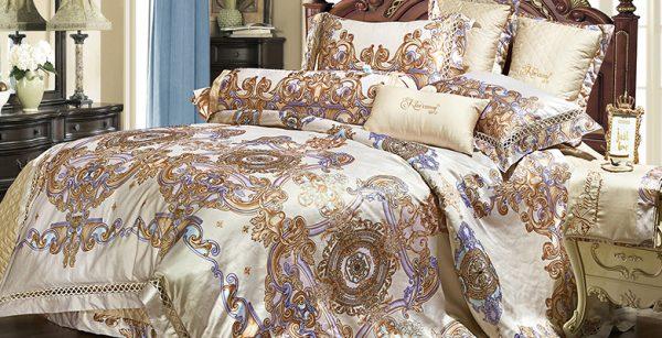 Bộ chăn drap phủ Luxury Gấm lụa LXG 7701P