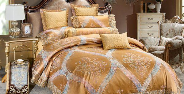 Bộ chăn drap phủ Luxury gấm lụa LXG 8402P